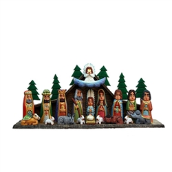 The Holy Family and in particular the Nativity is a popular theme in Polish folk art. The nativity is made of first quality materials, dry wood(linden) and the best quality paints. Mr Cichon carves and his wife paints all the sculptures made by her husban