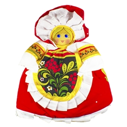 Gorgeous hand made cloth tea cozy made in Russia.  Our Russian maiden is dressed in a traditional folk costume and fits nicely over most teapots.  This doll is completely handmade. The head is a hand painted wood plaque.