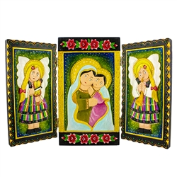 Beautifully carved and painted triptych by folk artist Ela Swiderek.  The Madonna and child are flanked by angels in traditional Lowicz costumes.  Ready to hang.  Signed and dated (2013) by the artist.