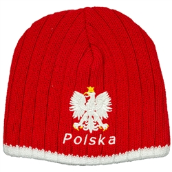 Display your Polish heritage! Red and white stretch ribbed-knit skull cap, which features Poland's national symbol the crowned white eagle in white letters above Polska (Poland). Easy care acrylic fabric. One size fits most. Imported from Poland.
