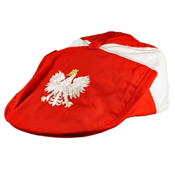 Display the Polish colors of red and white with this nicely detailed embroidery work on the front of the cap. Features a white Polish Eagle with gold crown and talons. Features an adjustable velcro tab in the back. Designed to fit small children.