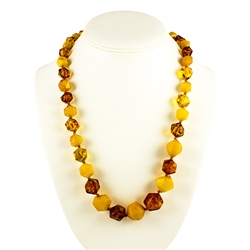 Simply stunning highly polished large faceted bead Baltic amber necklace, in a nicely balanced selection of color: Cream and Light Honey.