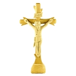 This beautiful hand carved crucifix comes from Zakopane in the Tatra Mountains of southern Poland. The crucifix can be displayed with or without the removable stand.  Ready to hang on a wall or stand on display.