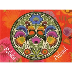 This beautiful note card features a pair roosters, the traditional symbol representing fertility and bounty. The scene is framed in a bright red floral background. The mailing envelope features flowers in both the foreground and background. Spectacular!