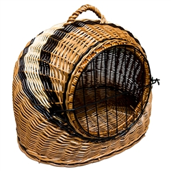 Small animal carrier made by hand of natural Polish wicker. Select from available sizes. Basket colorations vary.