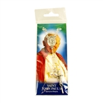 Pope John Paul II clear crystal bead rosary with Papal cross and center.  Enclosed in a clear pack with a picture card and prayer on the back. Made In Italy.