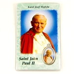 St. John Paul II Holy Card, Cross And Medallion Set enclosed in a sealed see through plastic case.