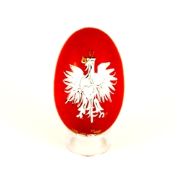 These beautiful wooden eggs are hand painted and feature a Polish Eagle on the word Polska (Poland) on the other side.