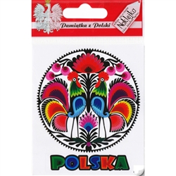 Polish paper cut featuring roosters on a round sticker and the word Polska (Poland) underneath.  The sticker peels off the glossy