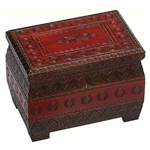 This box has an intricately carved pattern over the entire box. A two-tone stain decoration brightens the box and a lock and key secures the lid.