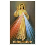 The Divine Mercy picture of Christ as shown on the front and the Chaplet of the Divine Mercy, from the diary of the Servant of God Sr. Faustina, on the reverse.