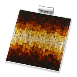 Stunning two piece necklace with multi-color mosaic amber. The process to create this amber mosaic is quite unique. See the video below.