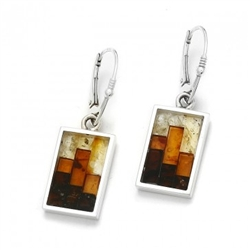 Stunning earrings with multi-color mosaic amber. The process to create this amber mosaic is quite unique. See the video below.