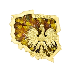 Hand made of wood and filled with amber this very attractive magnet features the Polish Eagle. the national emblem of Poland inside the map outline of Poland.