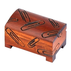 A perfect place for paper clips. Hand stained & hand carved motif on all sides.
