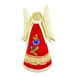 Hand made in Gdansk by a real Polish Kaszubian babcia!   Made of 100% linen and all sewn by hand. Detailed with a beautiful Kaszubian folk flower. Our special keepsake is sure to look splendorous on top of your tree, displayed on a table or in a curio. En