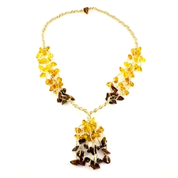 This beautiful amber necklace showcases a variety of amber shades. The beauty of this necklace will last a lifetime. Knotted between each bead..