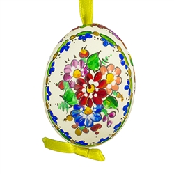 This beautifully designed chicken egg is hand painted. The painting is done in a traditional style from Opole. Ready to hang. Eggs are blown and can last for generations.