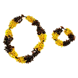 "Set includes a 21.5"" - 54.5cm long necklace and 8.5"" - 21.5cm long matching bracelet.  Both necklace and bracelet contain 5 strands of amber.  Composed of cherry and honey amber.  The honey amber appears lighter in our picture than actual."