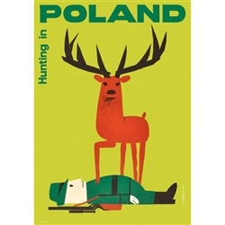 "Very clever Polish poster originally designed in 1961 by artist Wiktor Gorka to promote tourism to Poland.  It has now been turned into a post card size 4.75"" x 6.75"" - 12cm x 17cm."