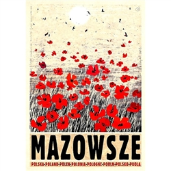 "Mazowsze, Mazovia, Polish Poster designed by artist Ryszard Kaja to promote tourism to Poland. It has now been turned into a post card size 4.75"" x 6.75"" - 12cm x 17cm."