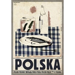 "Polish poster designed by artist Ryszard Kaja to promote tourism to Poland. It has now been turned into a post card size 4.75"" x 6.75"" - 12cm x 17cm. Only"