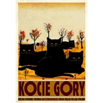 "Polish poster designed by artist Ryszard Kaja to promote tourism to Poland. Small but beautifully named mountains in Poland, Kocie Gory, Cat Mountains in English. It has now been turned into a post card size 4.75"" x 6.75"" - 12cm x 17cm."