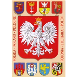 The Emblem of Poland, The Polish Eagle, surrounded by the coats of arms of 8 of Poland's major cities: