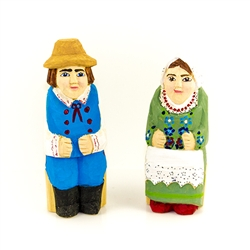 Hand carved and painted, our little couple is dressed in Rzeszow costume from southern Poland.