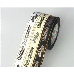 Polish funeral ribbon for floral arrangements, patriotic displays, etc. Polypropylene waterproof ribbon is perfect for both indoor and outdoor use. Made In Poland. 50 yard roll. Only one color available at this time.