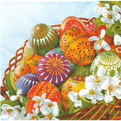 "Polish Folk Art Luncheon Napkins (package of 20) - ""Basket Of Pisanki"" - Folk Easter Eggs. Three ply napkins with water based paints used in the printing process."
