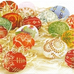 "Polish Folk Art Luncheon Napkins (package of 20) - ""Pisanki Gold"" - Folk Easter Eggs. Three ply napkins with water based paints used in the printing process."