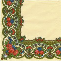 "Polish Folk Art Luncheon Napkins (package of 20) - ""Folk Flowers"". Three ply napkins with water based paints used in the printing process."