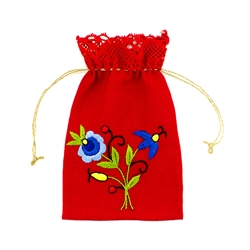 Beautiful hand embroidered Kashubian design red linen pouch made from Polish linen. Draw string closure. Floral designs vary.