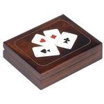 This double card box has two compartments, side by side, to hold two standard decks of playing cards. A card design featuring the Ace of each suite decorates the lid and is accented with metal inlay.