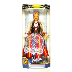 Polish Barbie by Mattel. 1997 collectors edition - Dolls of the World Series. Brand new (previously owned) but never been removed from the box. This Barbie is wearing a traditional folk costume in a red striped skirt with a lace apron.