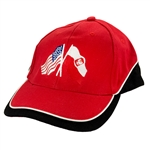 Crossed Flags - US and Poland.  Attractive red cap with black and white trip featuring the flags of both countries. The cap has an adjustable velcro strap in the back designed to fit most people.