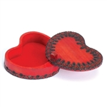 This vibrant heart shaped box has a carved border design and a lid that swivels open to access the box compartment.