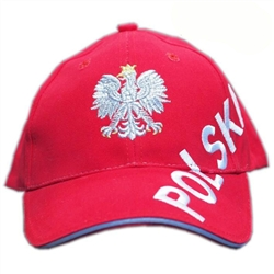 Stylish red cap with silver and white thread embroidery. The front of the cap features a silver Polish Eagle with gold crown and talons. Polish flag on the back. Features an adjustable cloth and metal tab in the back. Designed to fit most people.
