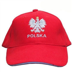 Stylish red cap with silver and white thread embroidery. The front of the cap features a silver Polish Eagle with gold crown and talons. Features an adjustable cloth and metal tab in the back. Designed to fit most people.
