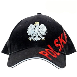 Stylish black cap with silver, red and white thread embroidery. The front of the cap features a silver Polish Eagle with gold crown and talons. Polish flag on the back. Features an adjustable cloth and metal tab in the back. Designed to fit most people.
