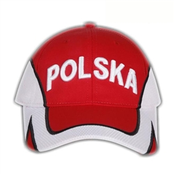 Stylish red cap with white thread embroidery. The front of the cap features Polska (Poland) and the back has the Polish flag. Features an adjustable cloth Velcro tab in the back.  Designed to fit most people.