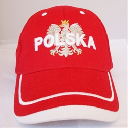 Stylish baseball cap displaying the Polish colors of red and white with detailed embroidery work. The front of the cap has an embroidered Polska superimposed over the Polish Eagle.. The back has and embroidered Polish flag. Adjustable Velcro tab. Designed
