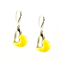 Heart Shaped Silver And Custard Amber Earrings