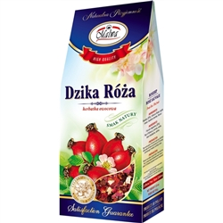 Another delightful and all-natural Polish loose tea made from the fruits of  Rosehip (28%), Hibiscus flower, Apple, Rowan, Hawthorne Berries. Text in Polish, English and French.