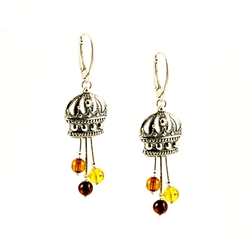 These are Genuine multi-colored Baltic Amber small spheres suspended under a Sterling Silver crown.