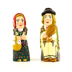 Hand carved and painted, our little couple is dressed in Goral costume from southern Poland.