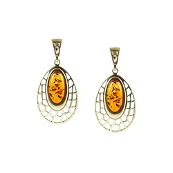 Very nice looking set of oval honey amber stones set in sterling silver, with post backs.
