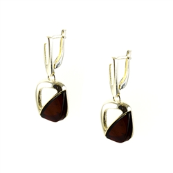 Cherry Amber Silver Earrings
