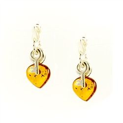 Honey amber hearts and a sterling silver key make quite the pair.